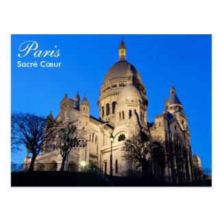 París - Sacré Cœur en la postal de la noche