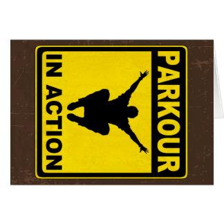 Parkour en letrero de la acción tarjetón