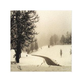 Parque del invierno impresión en lienzo