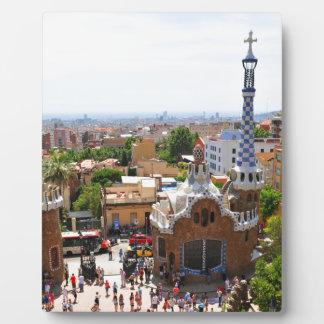 Parque Guell en Barcelona, España Placa Expositora