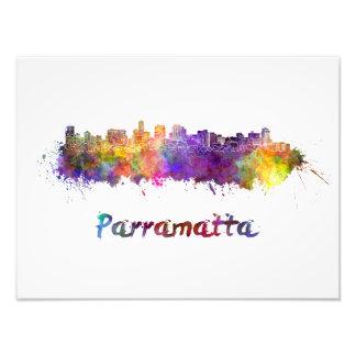 Parramatta skyline in watercolor foto