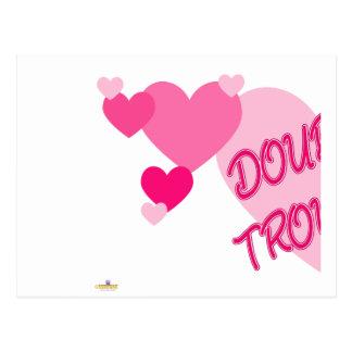 Parte doble 1 de los corazones del rosa del proble tarjeta postal