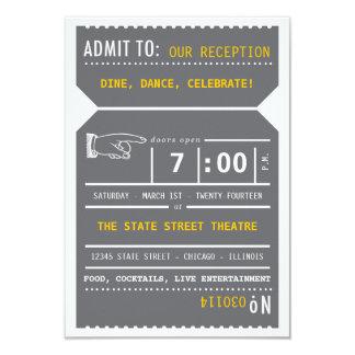 Parte movible del boleto de teatro del vintage en invitación 8,9 x 12,7 cm