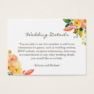 Parte movible floral de los detalles del boda del tarjeta de visita