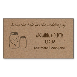 Parte movible rústico del boda del corazón del tarjeta de visita magnética
