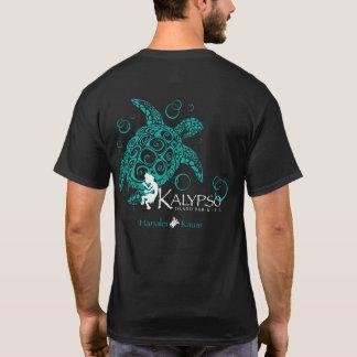Parte posterior delantera de la tortuga de mar de camiseta