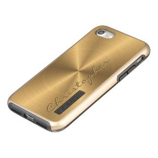 Parte radial metálica personalizada del oro del funda DualPro shine de incipio para iPhone 7