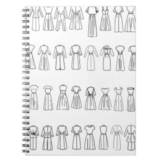 Partes posteriores del vestido de la moda libro de apuntes