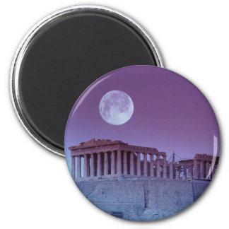 Parthenon crepuscular imán redondo 5 cm
