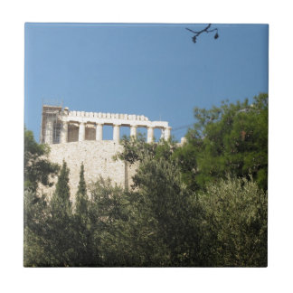 Parthenon del griego clásico de lejos azulejo cuadrado pequeño