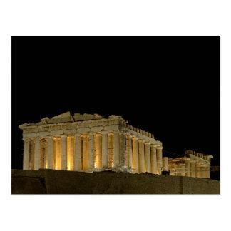 Postal Parthenon por la postal de la noche