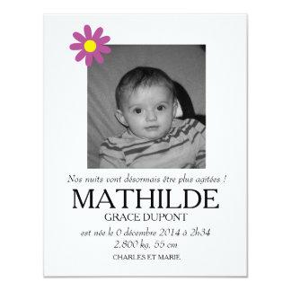 Participación de nacimiento - Muchacha Invitación 10,8 X 13,9 Cm
