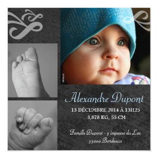 Participación de nacimiento Muchacho Invitación 13,3 Cm X 13,3cm