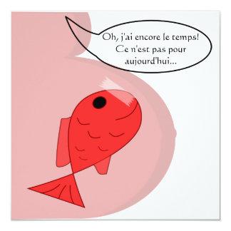 """Participación de nacimiento """"pescado de abril"""" bla invitación 13,3 cm x 13,3cm"""
