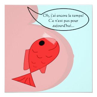 Participación de nacimiento pescado de abril mucha invitación 13,3 cm x 13,3cm