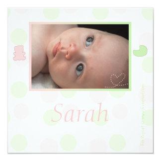 Participación de nacimiento Rosado y verde a guisa Invitación 13,3 Cm X 13,3cm