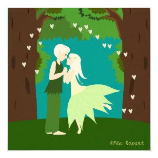 Participación matrimonio acopló de elfos corazón invitación 13,3 cm x 13,3cm