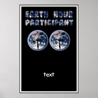 Participante de la hora de la tierra (w/Clocks) Poster