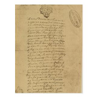 Partida del nacimiento de Napoleon, 1769 Postal