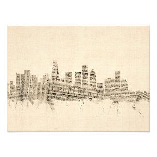 Partitura Citysca del horizonte de Los Ángeles Impresión Fotográfica