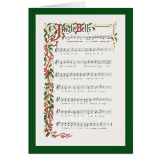 Partitura musical de los cascabeles tarjeta de felicitación