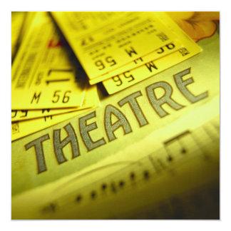 Partitura y boletos del teatro invitación 13,3 cm x 13,3cm