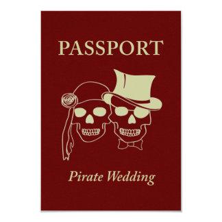 pasaporte a un boda del pirata invitación 8,9 x 12,7 cm