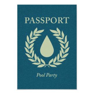 pasaporte de la fiesta en la piscina invitación 8,9 x 12,7 cm