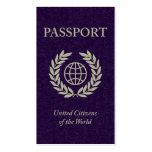 pasaporte púrpura tarjetas de visita