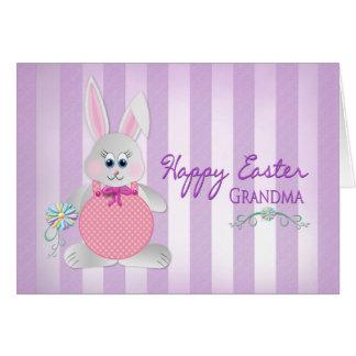 Pascua - abuela - conejito - rayas púrpuras tarjeta