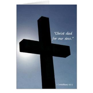 Pascua Cristo cruzado murió por nuestros pecados I Tarjeta De Felicitación