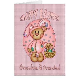 Pascua feliz - abuela y Grandad - oso de peluche Tarjeta De Felicitación