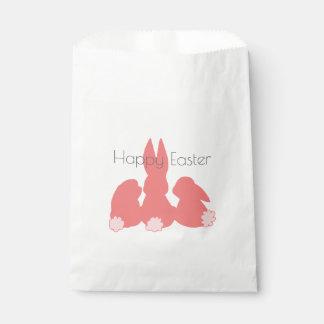 Pascua feliz - bolso rosado coralino del favor de bolsa de papel