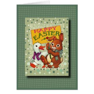 Pascua feliz con el conejito y el pato del bebé tarjeta de felicitación