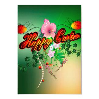 Pascua feliz con los huevos de Pascua, flores Invitación 12,7 X 17,8 Cm