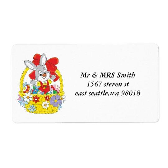 Pascua feliz del conejito de pascua etiqueta de envío