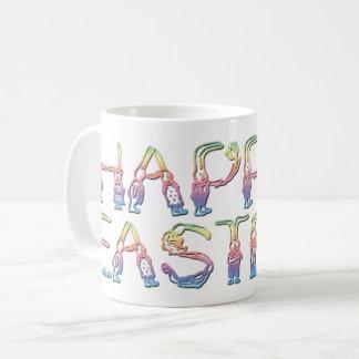 Pascua feliz en conejo pone letras a la taza