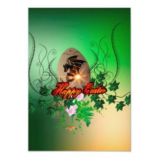 Pascua feliz, huevo de Pascua con el dragón Invitación 12,7 X 17,8 Cm