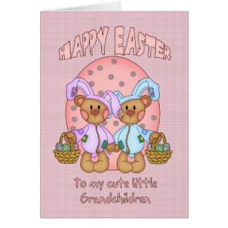 Pascua feliz - nietos - oso de peluche lindo tarjeta de felicitación