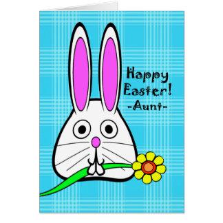 Pascua feliz para la tía, conejito lindo con la tarjeta de felicitación