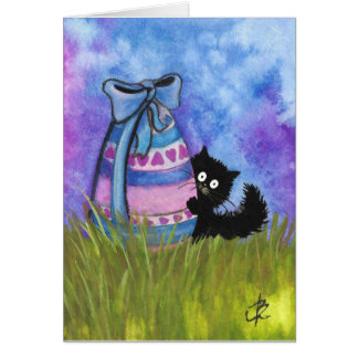 Pascua feliz por la tarjeta del gato negro de