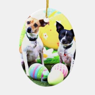 Pascua - fox terrier - Sadie y Baboo Adorno Ovalado De Cerámica