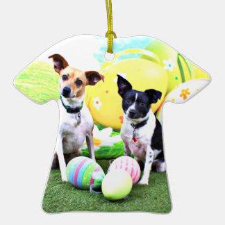 Pascua - fox terrier - Sadie y Baboo Adorno De Cerámica En Forma De Camiseta