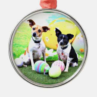 Pascua - fox terrier - Sadie y Baboo Adorno Redondo Plateado