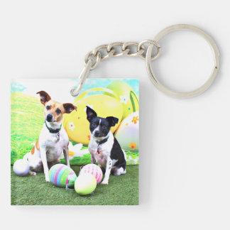 Pascua - fox terrier - Sadie y Baboo Llavero Cuadrado Acrílico A Doble Cara