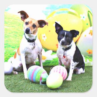 Pascua - fox terrier - Sadie y Baboo Pegatina Cuadrada