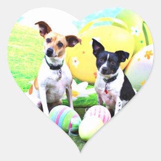 Pascua - fox terrier - Sadie y Baboo Pegatina En Forma De Corazón