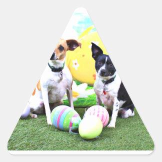Pascua - fox terrier - Sadie y Baboo Pegatina Triangular