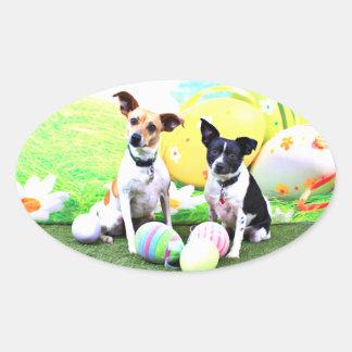 Pascua - fox terrier - Sadie y Baboo Pegatina Ovalada