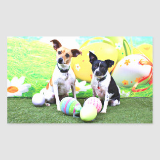 Pascua - fox terrier - Sadie y Baboo Pegatina Rectangular